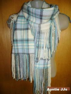 BANANA REPUBLIC Scarf Woven Lambswool Rabbit Cashmere Blend Blue Gray Whte Plaid #BananaRepublic #Scarf