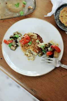 Quinoa cakes with roasted veggies