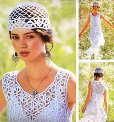 white crochet vest and hat for women  Charted