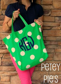 $41; personalized extra large monogram tote in lime green (as shown); pink; or blue. You choose the monogram color.