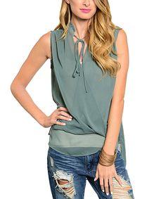 Look at this #zulilyfind! Jade Sheer Tie-Collar Sleeveless Top by  #zulilyfinds