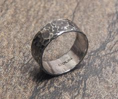 Sterling Silver hammered band nice wide sterling by VictorianMoon, $54.00