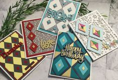 'Diamond Tiles' Background and Accents in all Die Cut Cards Background Tile, Small Tiles, Peach And Green, Die Cut Cards, Crystal Drop, My Stamp, How To Better Yourself, Hello Everyone, Paper Piecing