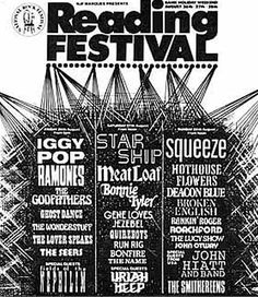 """The lineup from the 1988 Reading Festival - Reading's difficult """"transition"""" year between being a dinosaur rock festival (see day two) and being a more up-to-date punky/alternative event."""