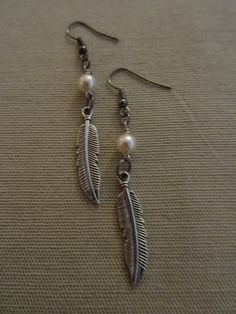 Long Silver Earrings with Pearl and Silver by YoungOliveJewelry