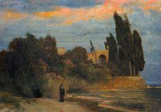 Titre de l'image : Arnold Böcklin - Villa at the sea