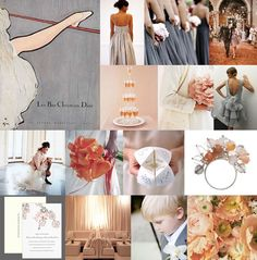 Silver grey and peach wedding inspiration - dreamy~