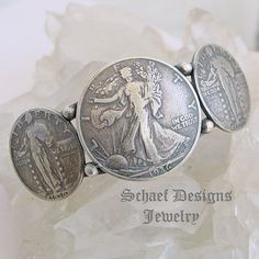 Old Coin Walking Liberty Half Dollar Quarter Sterling Silver cuff bracelet | Schaef Designs | New Mexico