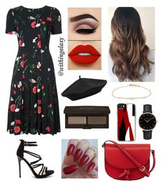 """""""red & black"""" by withingalaxy ❤ liked on Polyvore featuring Oscar de la Renta, KC Jagger, M&Co, Topshop, Lime Crime, Laura Mercier, Casetify and Tate"""