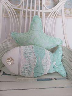 Under the Sea Fish Pillow Nautical Decor Sea by searchnrescue2, $55.00
