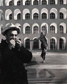 "Rome 1960,  Fellini and Anita Ekberg on the set of ""La Dolce Vita."""
