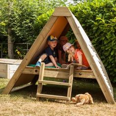"Roll-down canvas side panels create a cosy ""children only"" #den space #outdoorplay"