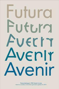 Futura is No. 5 http://www.100besttypefaces.com/5_Futura.html#a5 Avenir is No. 65 http://www.100besttypefaces.com/65_Avenir.html#a65