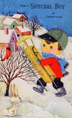 Unused Gibson Boy w/ a Sled-Vintage Christmas Greeting Card Old Christmas, Old Fashioned Christmas, Vintage Christmas Cards, Christmas Images, Christmas Wrapping, Vintage Holiday, Christmas Greeting Cards, Christmas Greetings, Holiday Cards