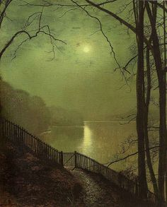 John Atkinson Grimshaw - English / Leeds (1836 - 1893) Victorian - Moonlight on Lake