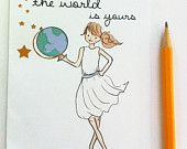 Graduation Card - The World Is Yours Card- Congratulations Card - Cards for Girls and Women