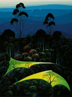 "Eyvind Earle - ""Inland from the Sea"" - Serigraph, 1987."