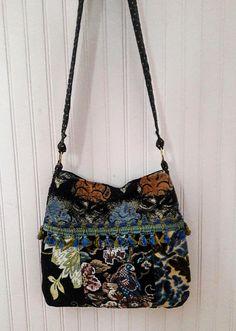 Pretty tapestry boho bag in blues with a bird / crossbody bag