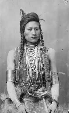 Charles S. Baker and Eli Johnston, Portrait of Codsiogo (detail), before 1898, photograph (American Heritage Center, University of Wyoming). 165. Hide painting of Sun Dance. Attributed to Cotsiogo (Cadzi Cody), Eastern Shoshone, Wind River Reservation, Wyoming. c. 1890–1900 C.E. Painted elk hide.