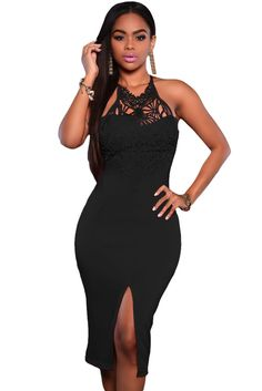 Black Embroidered Top Party Dress MAVERLLY