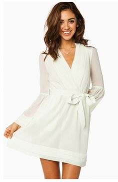 More #rehearsal dinner #dresses! This white #wrapdress is so simple yet classic! {Shop Sosie}