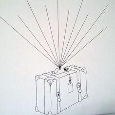 """Arbre à empreintes valise """" le voyage extraordinaire """" thème voyage. mariage, retraite, anniversaire, pendaison de crémaillère"""