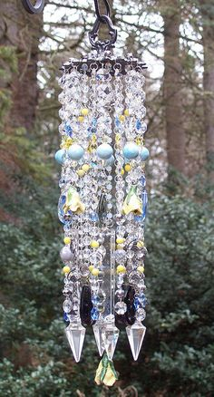 Winter Dreams Of Roses Antique Crystal Wind Chimes/// i bet this would really sparkle i wonder what prism light this would reflect i love this too