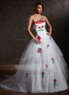 Quinceanera Dresses- Ball-Gown Sweetheart Chapel Train Satin Tulle Quinceanera Dress With Appliques (021027004) http://jjshouse.com/Ball-Gown-Sweetheart-Chapel-Train-Satin-Tulle-Quinceanera-Dress-With-Appliques-021027004-g27004?ver=xdegc7h0