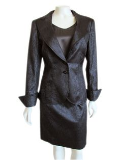 Brilliant Escada luxury skirt suit done in a gorgeous dark brown