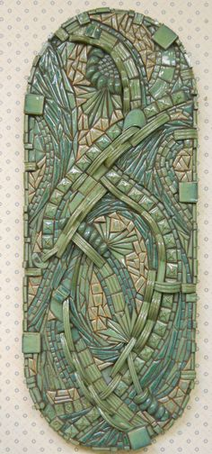 "3D Zentangle... Abstract Mosaic Wall Art Handmade Ceramic Tile  ""Currents"".  via Etsy by Kathy Thompson."