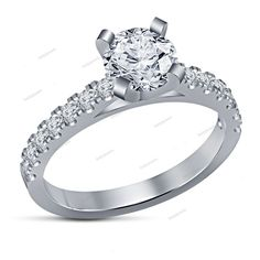 925 Sterling silver Simulated Diamond Solitaire with Accents Engagement Ring…