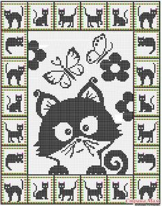 19 ideas for crochet cat pattern posts Cat Cross Stitches, Cross Stitch Charts, Cross Stitching, Cross Stitch Embroidery, Embroidery Patterns, Cross Stitch Patterns, Hand Embroidery, Chat Crochet, Crochet Cross