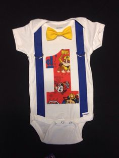 Paw Patrol First Birthday Outfit bow tie and suspenders by JaxTies
