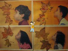 Portada álbum escolar otoño. Foto de niño soplando hojas.