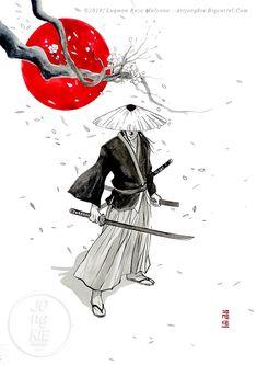Image of Hitokiri Battosai Japanese Art Prints, Japanese Artwork, Japanese Tattoo Art, Japanese Painting, Samurai Warrior Tattoo, Warrior Drawing, Warrior Tattoos, Warrior Paint, Samurai Artwork