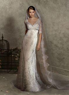 Classic dress and veil, Catholic wedding perhaps