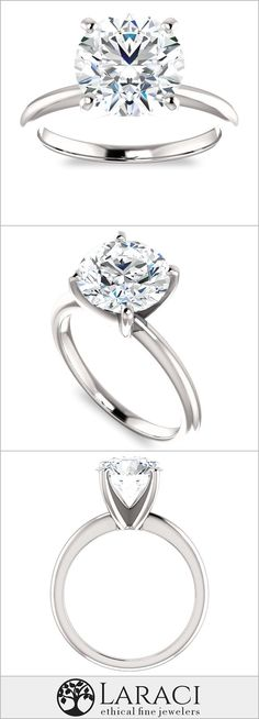 14K White Gold Solitaire Engagement Ring set with a 2.7ct (9mm) Round Forever One Near Colorless Moissanite