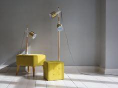Valkoinen/kulta lattiavalaisin OWENS Lamp, Beliani, Home Decor, Lighting