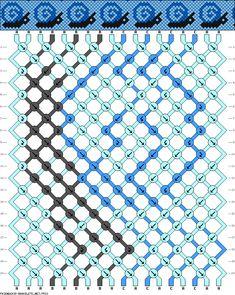 Snails friendship bracelet; 18 strings 20 rows 3 colors