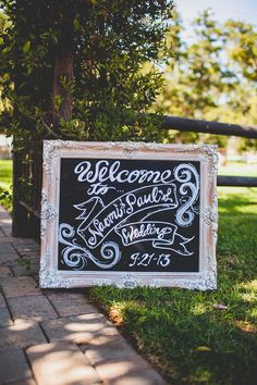 Wedding welcome chalkboard sign. Your guests will know it is going to be a beautiful wedding before they are even inside.