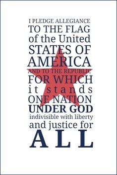 Free printable featuring the Pledge of Allegiance. Frame or display at your July 4th and Labor Day celebrations!