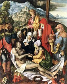 Alberto Durero - Lamentación por Cristo (1500-1503). Renacimiento. Óleo sobre tabla de  151 x 121 cm. Alte Pinakothek (Múnich), Alemania