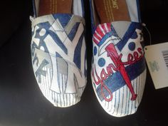 New York Yankees baseball hand painted TOMS. I am doing a promotion from today until June 13th to my first price of 95 dollars.. $95.00, via Etsy.