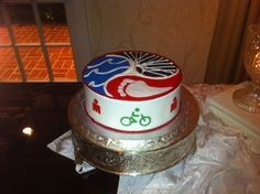 Ironman Triathlon cake - swim bike run.  Love the design on top!