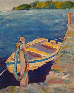 The Dinghy~ by Peggy Johnson Prints available on FineArtAmerica.com Original  available on www.etsy.com/shop/everygoodcolor     Hop in and escape out onto the brilliant blue water for a little serenity!      rowboat, sea, dock