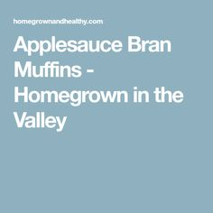 Applesauce Bran Muffins - Homegrown in the Valley