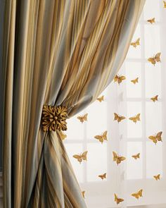 """""""Milano"""" Striped Curtains, Butterfly Sheers, & Holdbacks - Striped silk curtains are have rod-pocket styling and cotton linings. rod-pocket sheers of ivory silk organza are embroidered with golden butterflies Silk Curtains, Luxury Curtains, Striped Curtains, Curtains With Blinds, Drapery, Linen Curtain, Cream Curtains, Window Drapes, White Curtains"""