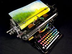 Chromatic Typewriter: #OOAK 1937 Underwood Standard typewriter modified to paint with oils by Tyree Callahan. #rainbow
