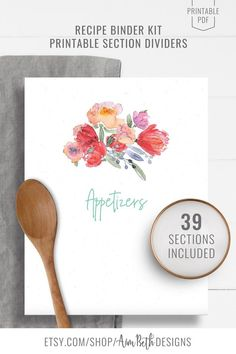 Printable Recipe Binder Kit Section Dividers - #recipebinderkit #recipekit #cookbook #recipeorganization #recipebook #cookbookorganization #printable #watercolorflorals #watercolor #flowers #diycookbook #diyrecipebook #recipebooksectiondividers #recipebooksections #familycookbook #familyrecipebook #cooking #baking #food #recipebinder #diy #printable #digitaldownload Kit, Cookbook Organization, Recipe Sheets, Recipe Cover, Recipe Binders, Great Wedding Gifts, Wrap Sandwiches, Your Recipe, Cover Pages