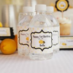 Bumble Bee Water Bottle Labels Birthday Party - Black & Yellow